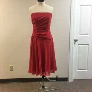 Red Chiffon Strapless Dress
